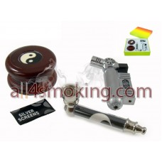 SET PIPA METALICA+GRINDER+SILVER SCREEN+BRICHETA